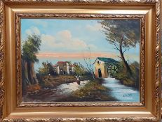 Continental school 21st century, 'Landscape with water Mill', illegibly signed, oil on canvas,