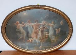 The Dance of the Nymphs with cherubs, a print on an oval frame, (58x88 cm).