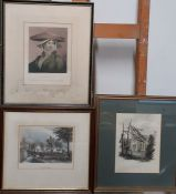 A group of three antique prints, framed and glazed, (20.5x15 cm). (3)
