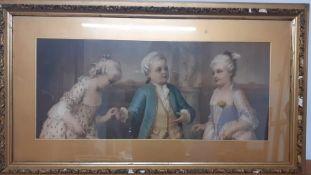 A hand coloured print after Franz Lefler (1831-1898) Austrian, 'Le jeune galant', framed and glazed,