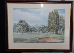 A pair of golf prints, framed and glazed, (38x56 cm largest). (2)