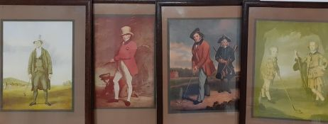 A group of 4 prints depicting 18th and 19th golf players, (26x20 cm). (4)