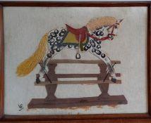 "A mixed media by Vivian Evans, ""Rocking horse"", (39x53 cm)."