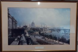 'The Embankment from Somerset House' a print after John O'Connor, framed and glazed, (42x71 cm).