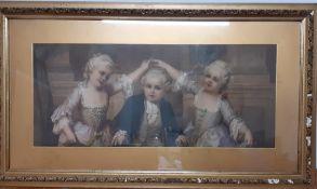 A hand-coloured print after Franz Lefler (1831-1898) Austrian, 'Le Menuet', framed and glazed, (