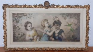 A hand coloured print after Franz Lefler (1831-1898) Austrian, 'La fille galante', with an elaborate