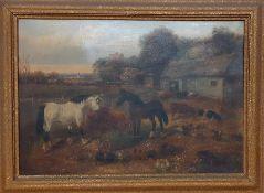 English school, 'Farm scene', oil on canvas, framed, (41x57 cm).