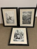 Three prints after Gustave Doré's Don Quixote, framed and glazed, (30.5x21 cm). (3)