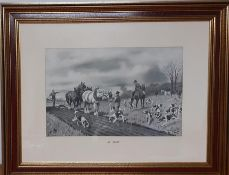 """A print after Gilbert Scott Wright (1880-1958), """"At fault"""", framed and glazed (36x55 cm)."""