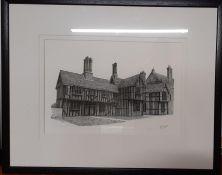 A print signed 'PJ. Guim', framed and glazed (16.5x39 cm).