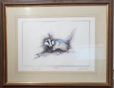 """Ben Maile (1922-2017) British, """"Badger"""", signed, print also signed by Sir Angus Ogilvy (President of"""