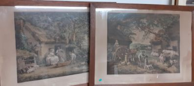 A pair of prints after George Morland, framed and glazed (48x68 cm each). (2)