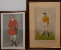 """A pair of original Vanity Fair chromolithographies of a fox hunter and a jockey caricatures by """""""