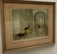 A William Russell Flint print signed bottom right corner in pencil. Frame size 75 cm x 60 cm.