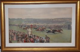 """After Isaac J Cullin (act.1881-1947) British, """"The finish for the Derby"""" an important coloured print"""