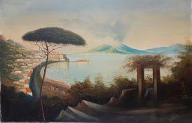 Continental school 21st century, 'Italianate landscape (Naples?)', unsigned, oil on canvas, (100x148