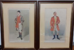 """A pair of original Vanity Fair chromolithographies of fox hunters caricatures by """"Spy"""", framed and"""