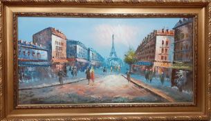 Continental school 21st century, 'Paris scene', illegibly signed, oil on canvas, within an