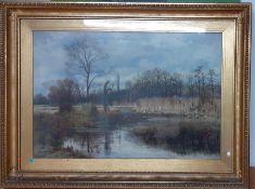 "Leonard Marlborough Powell (XIX-XX) British, ""The river Mimram-Winter"", signed and dated 1884"