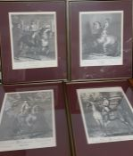 A collection of four lithographic facsimiles after Johann Elias Ridinger (1698-1767) engravings,