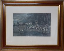 """A print after Gilbert Scott Wright (1880-1958), """"The kill"""", framed and glazed (34x55 cm)."""