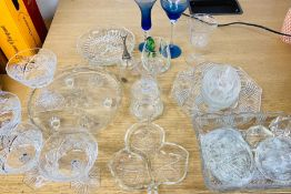 A mixed selection of cut glass items to include bowls, glasses, bell, etc