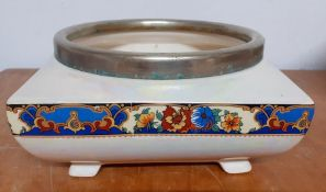 Lancaster & Sons (Hanley), iridiscent planter with silver plated rim, (9.5x19x19 cm).