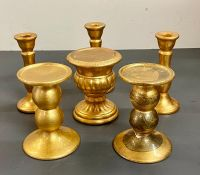 Six various gilt candle holders