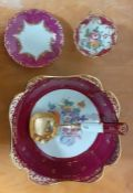 A group of hand painted French porcelain, ( 26 cm diam. bowl). (4)