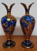 A pair of vintage floral ware flow blue gold glaze vases, with Thomas Forester & Sons of Longton
