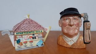 """A large Character Jug, """"The Golfer"""" (the first version) by Royal Doulton and designed by David B."""