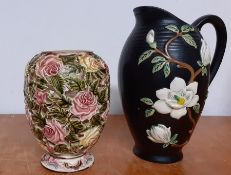 A pierced German vase and an English jar with low relief decoration, (23.5 tallest). (2)