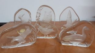 A collection of six hand made wedgwood crystal paperweight with diferent birds inset, (11 cm