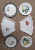 A collection of six plates designed by Clarice Cliff, Susie Cooper and Estece, hand paintd. (21.5 cm