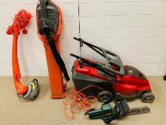 A selection of garden equipment, a lawnmower, a leaf blower, a hedge trimmer, etc