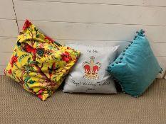 Three contemporary cushions
