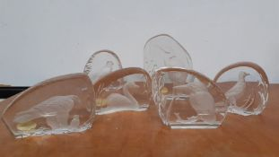 A collection of six hand made wedgwood crystal paperweight with diferent birds inset, (12 cm