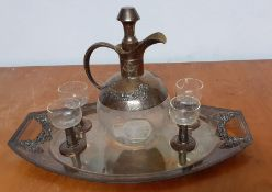 A continental Art Nouveau glass and silver plated integrated liqueur service for four, comprising