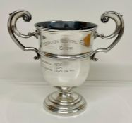 A two handled silver cup on stand (Total weight of cup 368g)