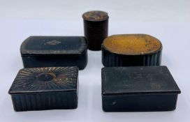 A Selection of five various antique snuff boxes