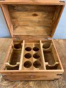 A wooden wine trunk with rack storage inside (H30cm W42cm D35cm)