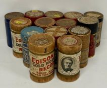 A collection of wax cylinders for a phonograph.
