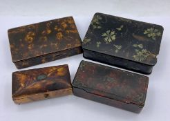 A Selection of four various antique snuff boxes