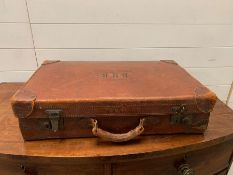 A small leather suitcase with initials DMB (60cm x 36cm) A