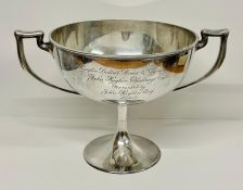 A two handled hallmarked silver cup (1275g)