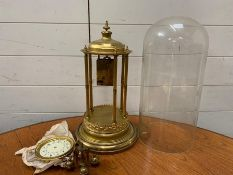 A brass Portico or bandstand clock under dome. A/F