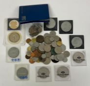 A Box of coins, various denominations and countries including crowns etc.