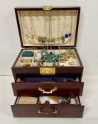 A Large selection of Costume jewellery in Oriental style case with two drawers and lift up top