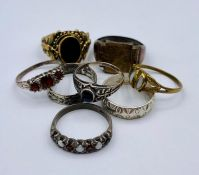 A selection of seven fashion rings