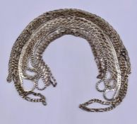 A selection of seven silver necklaces various styles